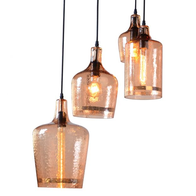 detailed look 73f62 b4006 Element Hammered Glass Multi-Pendant Light