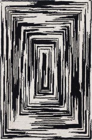 Vortex Hand Braided Rug in Black and White