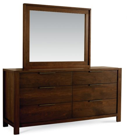 The Phase 6 Drawer Dresser in Walnut wood finish. Pictured with Phase Wall Mirror (sold separately).