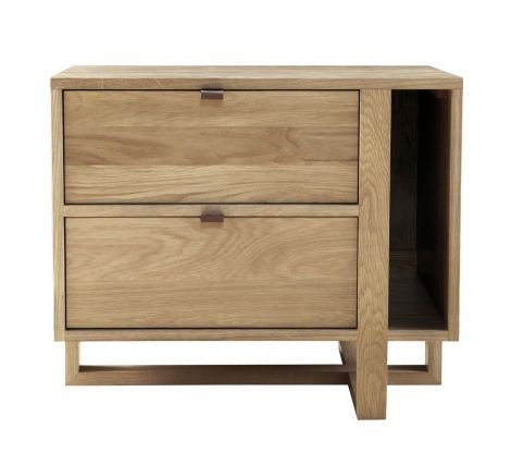 Fulton Magazine Nightstand-Left in Sand Wood Finish