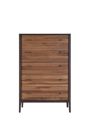 Hayden 5 Drawer High Chest in Carbon with Walnut Stripe Drawer Fronts
