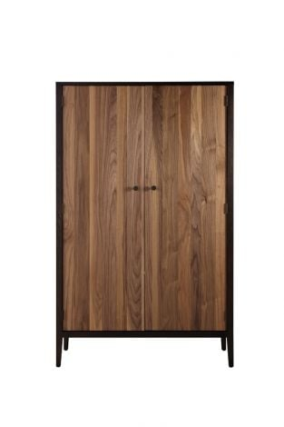 Hayden Cabinet in Carbon with Walnut Stripe Accent Doors