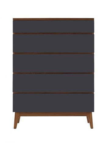 Serra High Chest in Toast wood finish with Slate accent drawer fronts