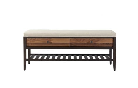 Hayden Bench in Carbon with Walnut Stripe Drawer Fronts