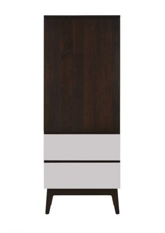 Serra Dressing Tower in Coffee wood finish with Mist accent drawer fronts
