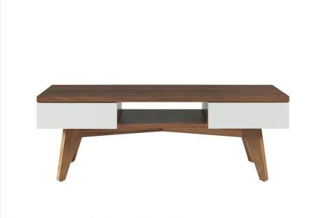Serra Coffee Table in Toast wood finish with Mist accent drawer fronts