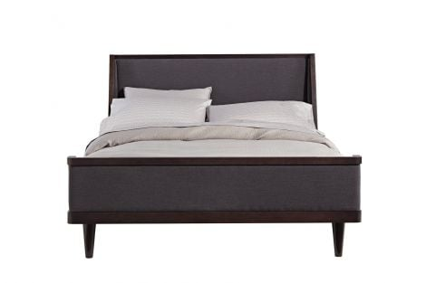 Jensen Platform Bed in Graphite with Express Storm Upholstery and Shelter Footboard