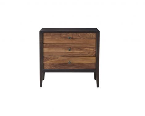 Hayden Bedside Chest in Carbon with Walnut Stripe accent