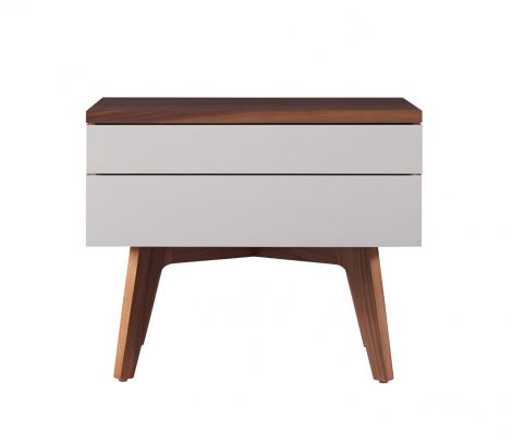 Serra Nightstand in Toast wood finish with Mist accent drawer fronts