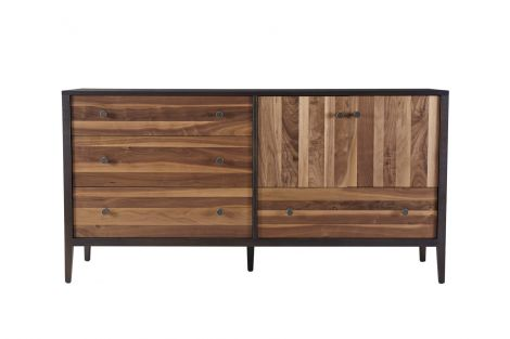 Hayden Door Dresser in Carbon with Walnut Stripe drawer and door fronts