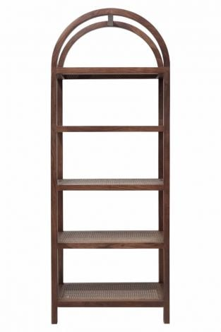 Grand Bookshelf in Porto Dark finish with Cane shelving