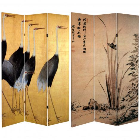 Tall Cranes Canvas Shoji Screen