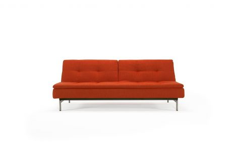 Vogue Sleeper Sofa with Stainless Steel Legs in Elegance Paprika (506) with No Arms.