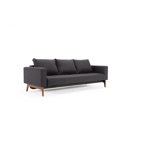 Cassius Quilted Sofa Bed in Elegance Anthracite with Wood Legs