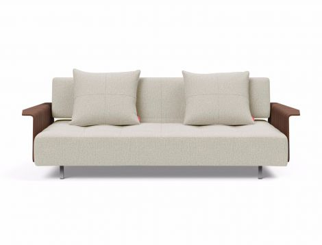 Long Horn Sofa Bed with Walnut Arms