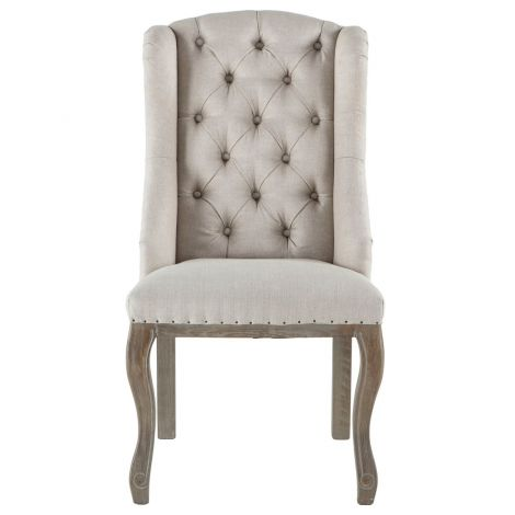 Portia Linen Tufted Chairs-Set of 2