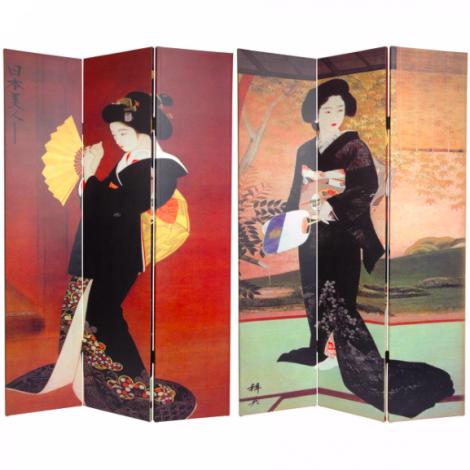 Japanese Ladies 3 Panel Screen