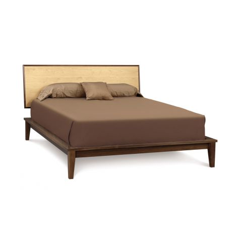 Soho Modern Platform Bed in Maple/Walnut