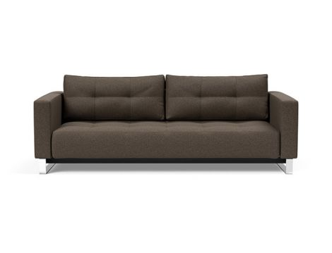 Cassius Lounger Sofa Bed in Mixed Dance Natural with Chrome Legs