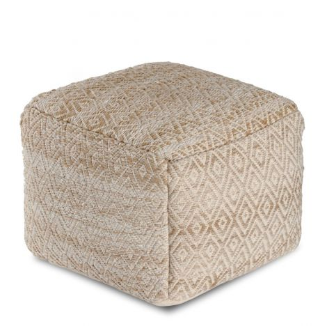 Cherokee Tawny Brown and Beige Pouf