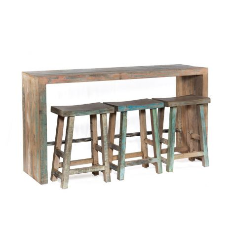 Cordoba Vintage Reclaimed Teak Gathering Table and Stools