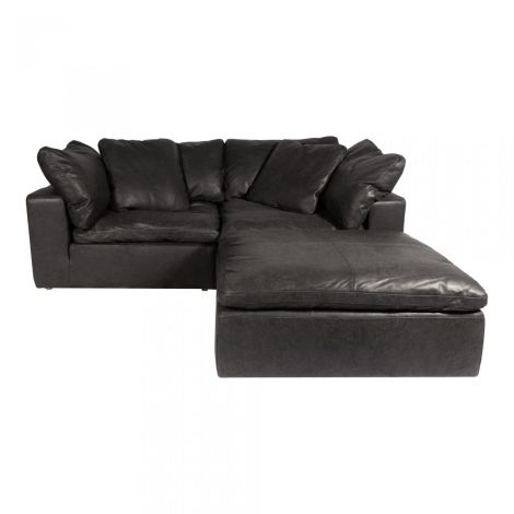 Clay Nook Modular Sectional in Black Nubuck Leather