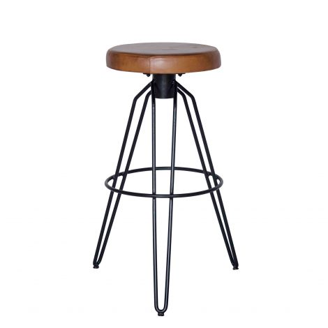 Hudson Leather Bar Stool