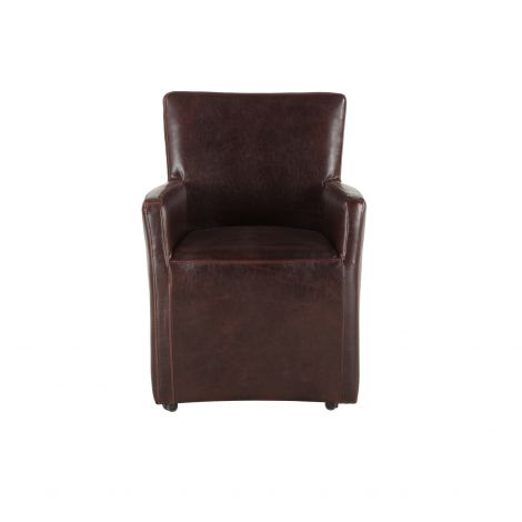 Lily Brown Leather Wheeled Armchair
