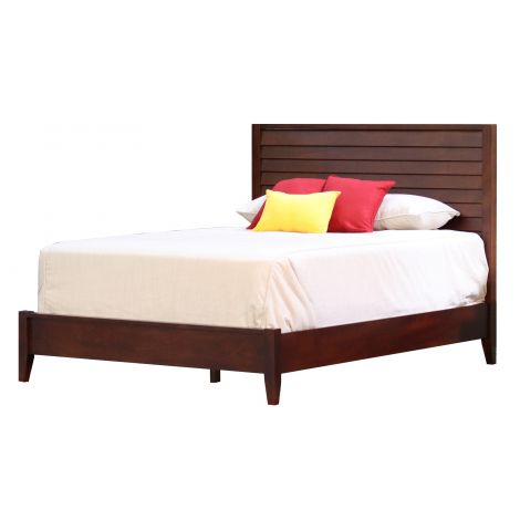 Kanal Contemporary Platform Bed with Louvered Headboard