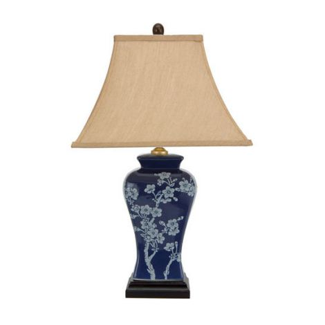 Blue Cherry Blossoms Jar Lamp