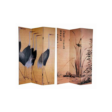 Tall Cranes Canvas Shoji Screen