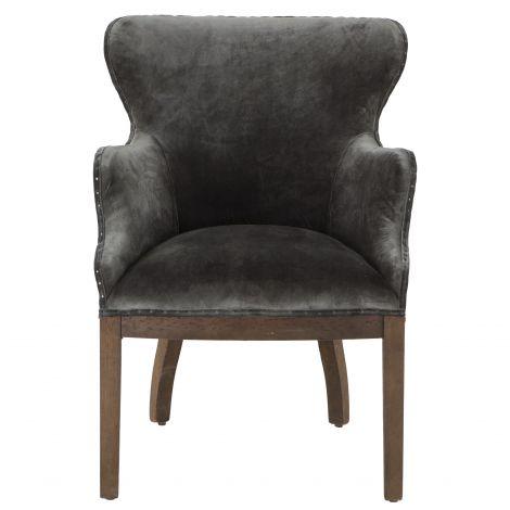 Charles Gray Velvet Arm Chair