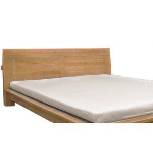 Close-up of Raku Headboard in Honey Oak mounted on a Raku Platform Bed in Honey Oak (bed and mat sold seperately)