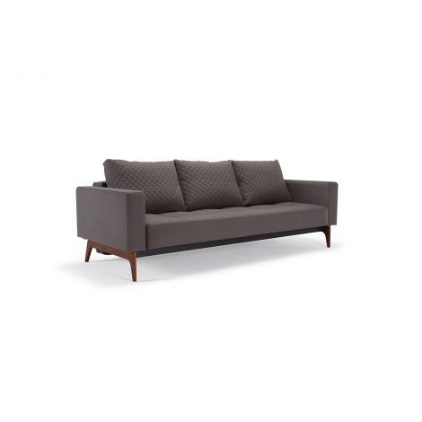 Elan Deluxe Quilted Sofabed - Coastal Seal Grey, Wood Legs