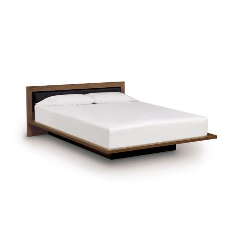 Mikado Japanese Platform Bed in Natural Walnut Finish and Onyx Microsuede Upholstery.