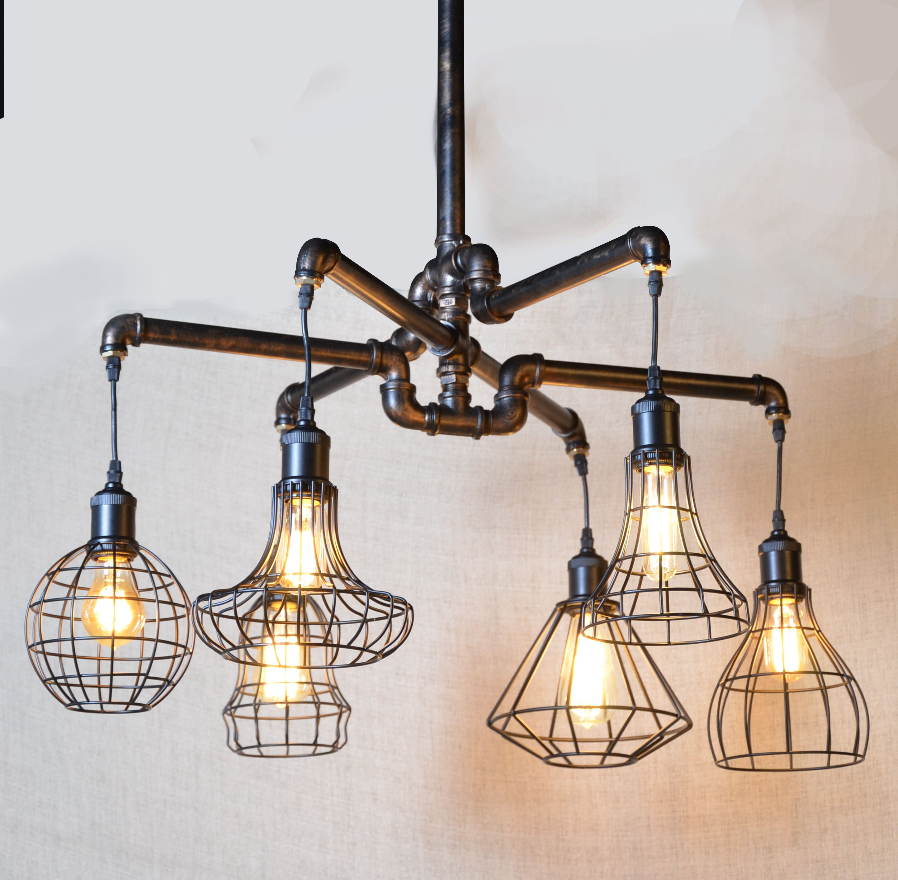 Pipe Light Chandelier Rustic Industrial Black Iron Ceiling Fixture