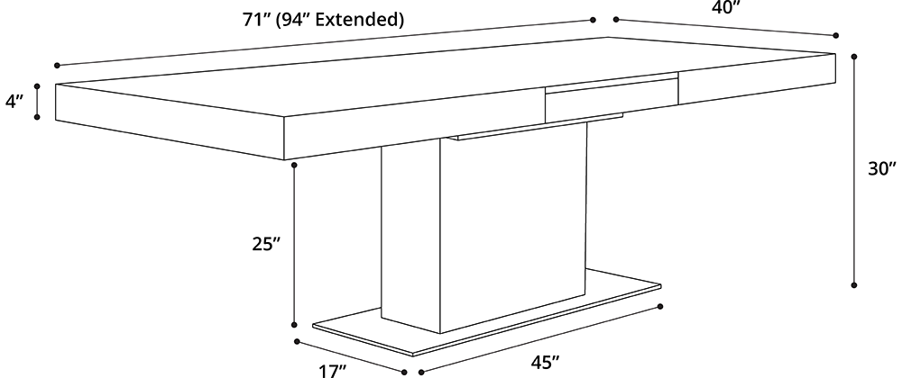 MODLOFT Astor Dining Table Dimensions