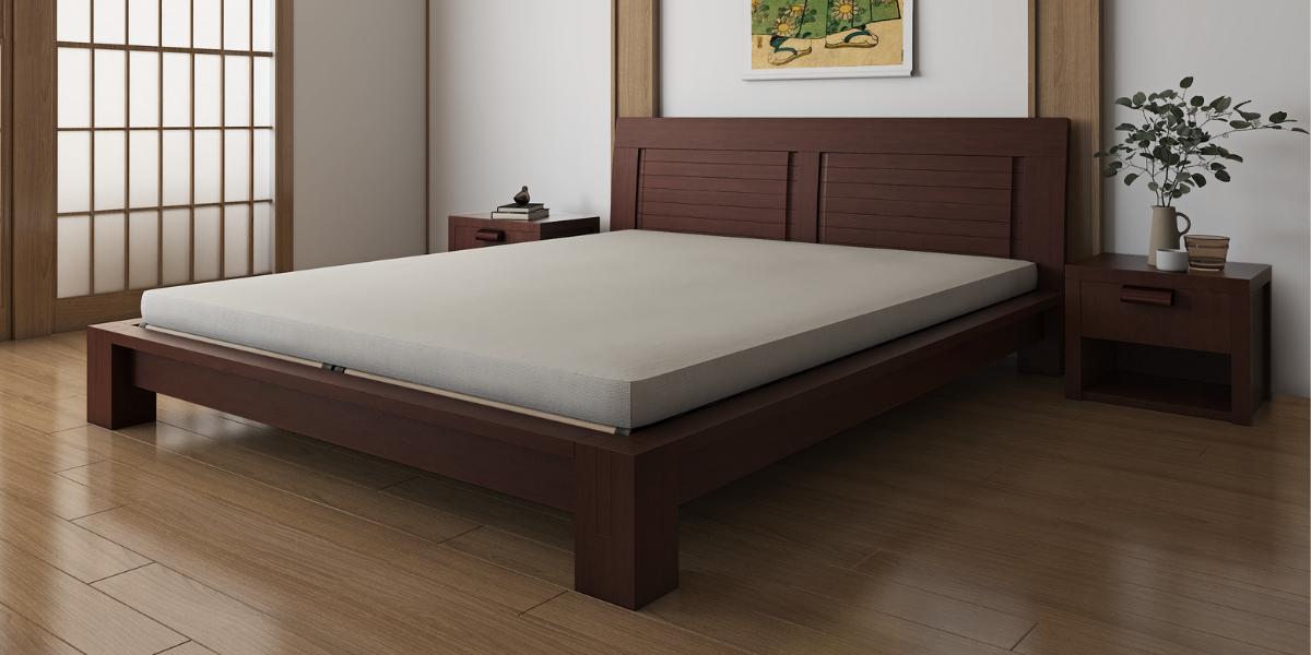 Dark Walnut Raku Tatami Platform Bed w/ Headboard