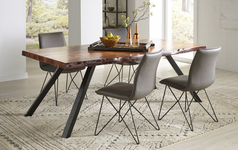 Mokuzai Live Edge Dining Table with Chairs