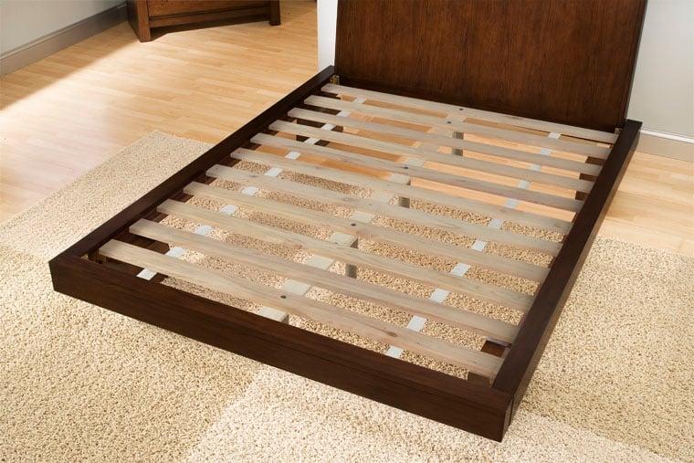 Platform Bed Frame Showing Wood Slat Construction