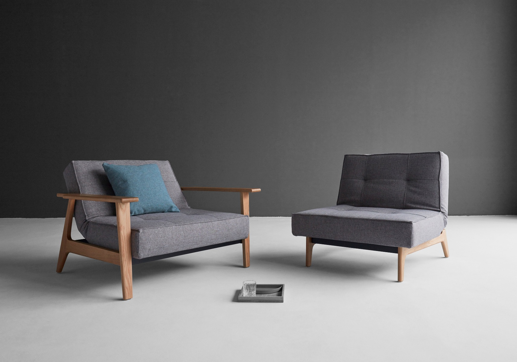 Chill Sleeper Chair Options - Lacquered Oak with and without Arms
