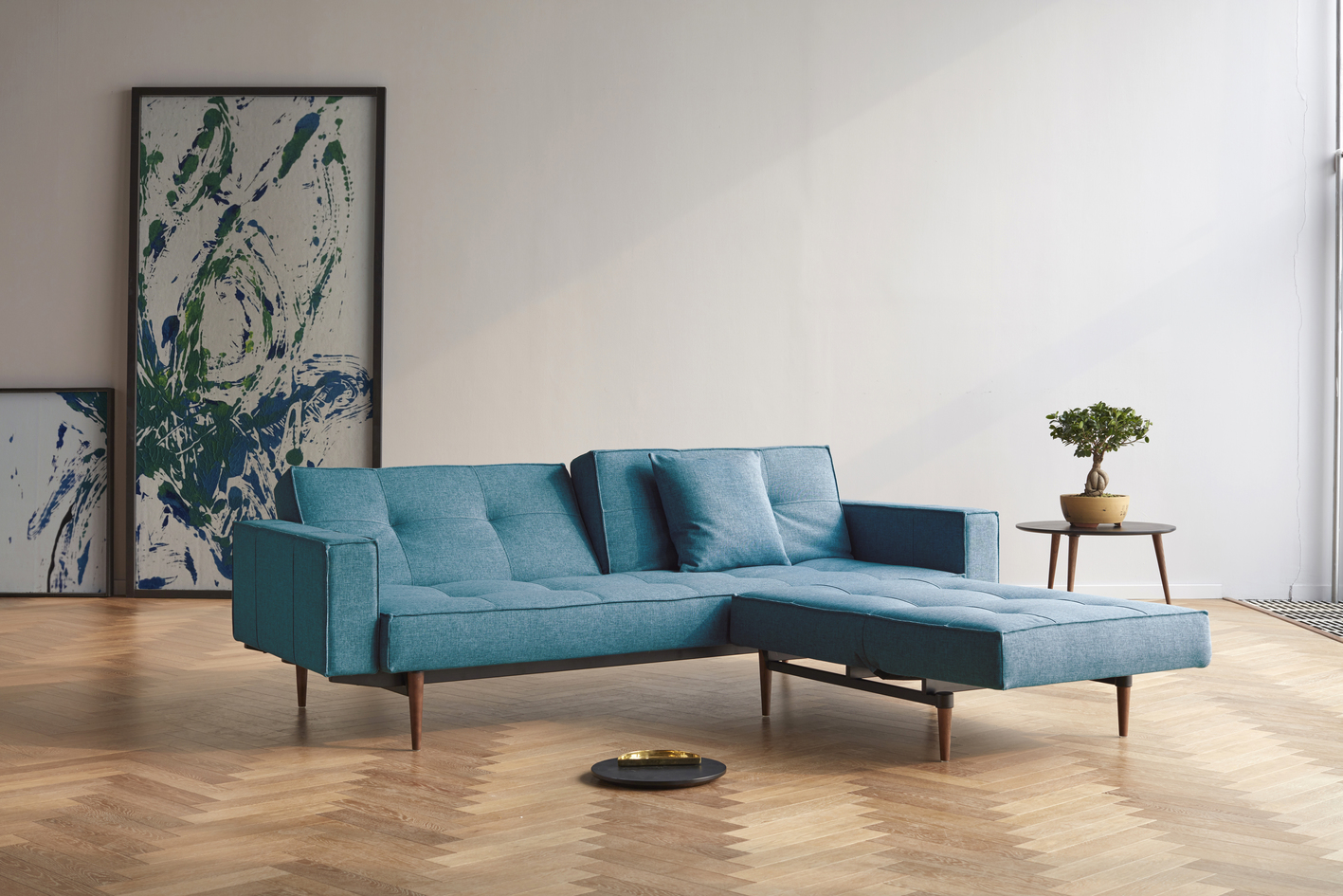 Chill Sleeper Sofa with Dark Wood Legs and Fabric Arms in Mixed Dance Aqua Petril Color