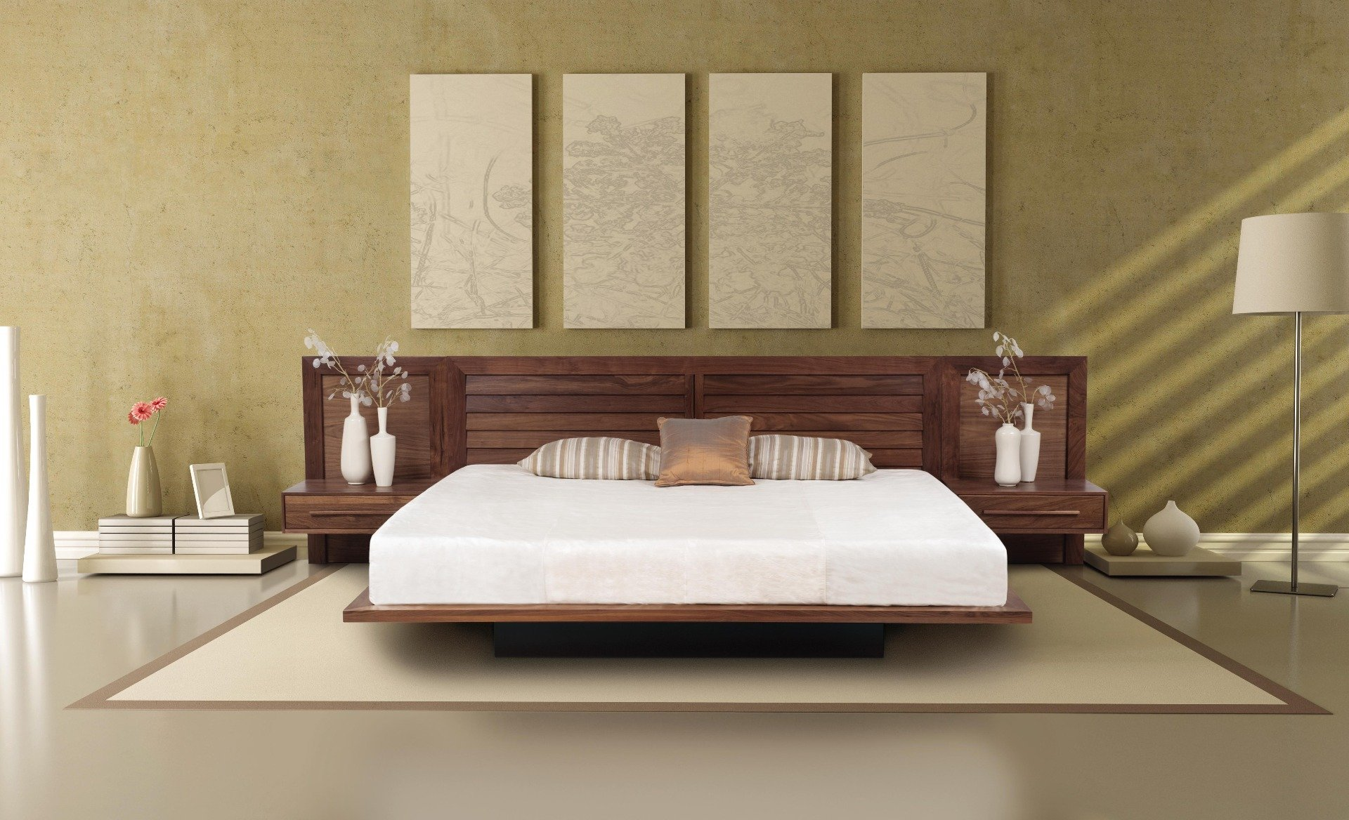 Moduluxe Modern Platform Bed With Clapboard Headboard Haiku Designs