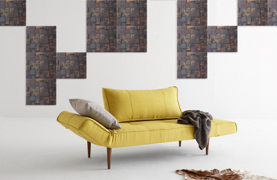 Lucerne Sleeper Sofa in Soft Mustard Flower with Dark Wood Legs