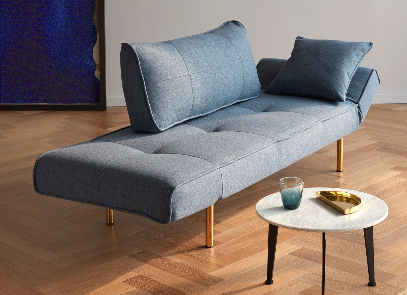 Lucerne Sleeper Sofa in Mixed Dance Light Blue with Brass Legs