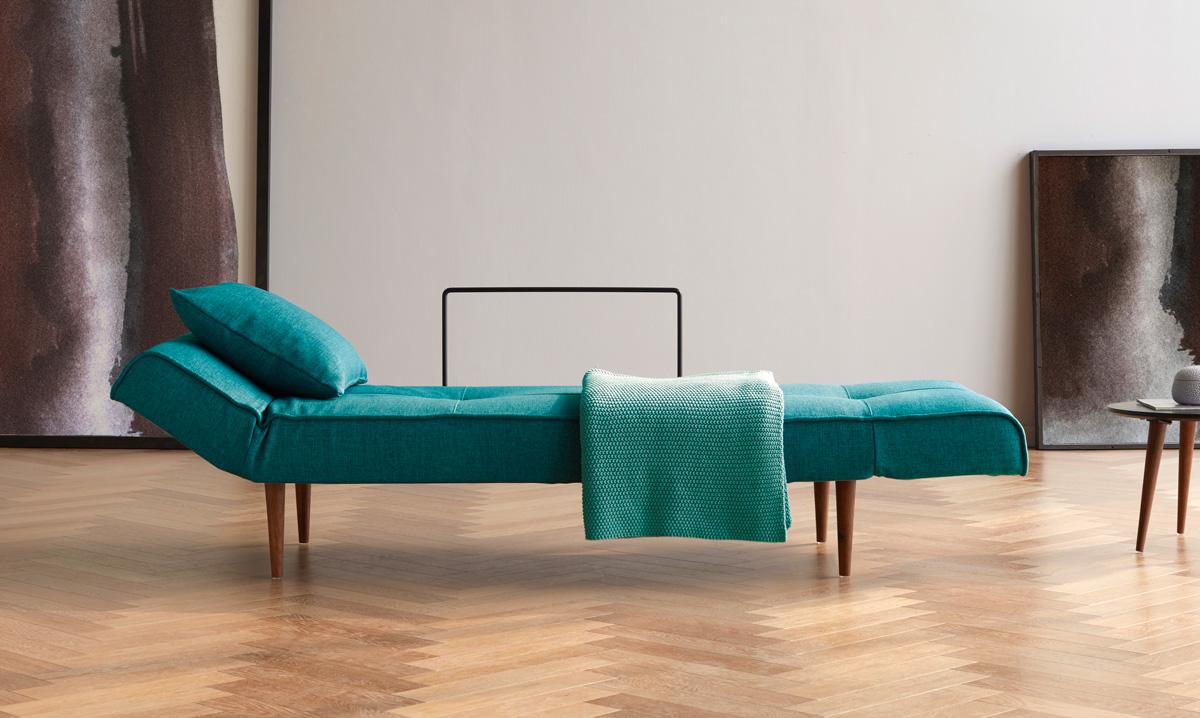 Lucerne Sleeper Sofa in Mixed Dance Aqua Petril with Dark Wood Legs