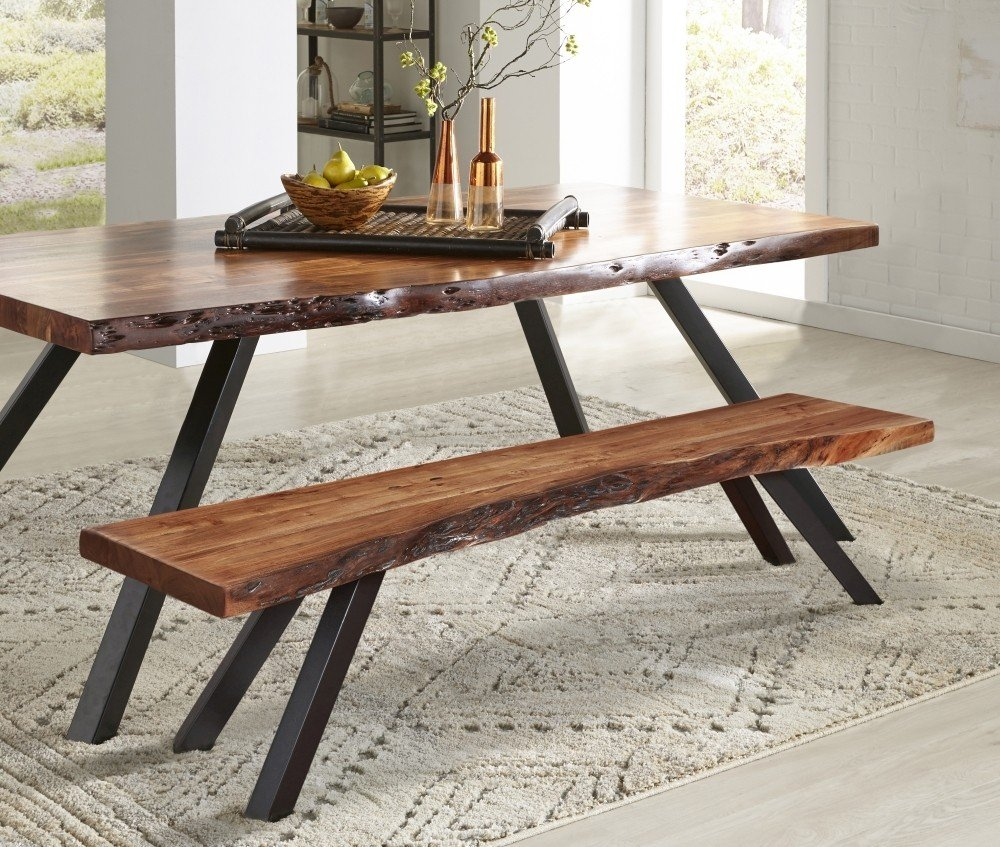 Mokuzai Live Edge Dining Table and Benches