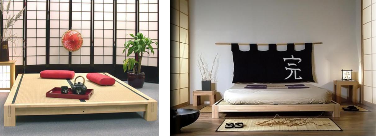 Raku Tatami Platform Bed in Dark Walnut with optional Tatami Mats (sold separately)
